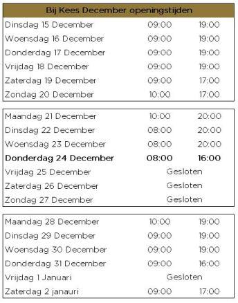 December openingstijden